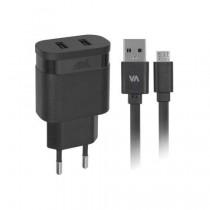 Rivacase VA 4122 BD1 Incarcator retea AC 2USB x 2,4A +cablu microUSB, negru
